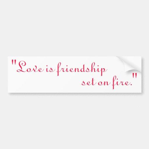 """El """"amor es la amistad, sistema en el fuego. """" pegatina de parachoque"""