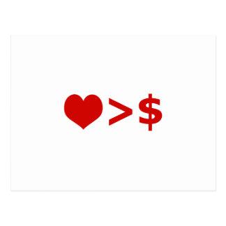 El amor es más importante que concepto del dinero postal