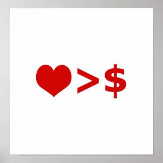 El amor es más importante que concepto del dinero poster