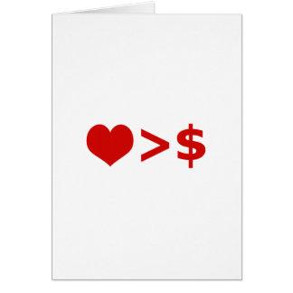 El amor es más importante que concepto del dinero tarjetas