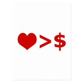 El amor es más importante que concepto del dinero tarjetas postales