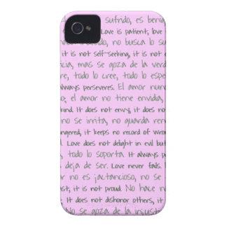 El amor es paciente, EL Amor es bilingüe de iPhone 4 Case-Mate Cárcasas