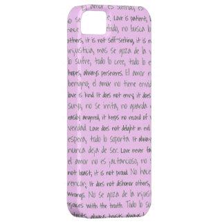 El amor es paciente, EL Amor es bilingüe de Sufrid iPhone 5 Case-Mate Cárcasa