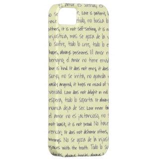 El amor es paciente, EL Amor es bilingüe de Sufrid iPhone 5 Case-Mate Fundas