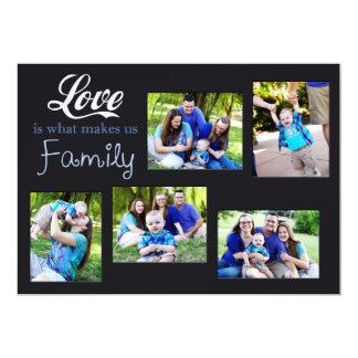 El amor es qué nos hace el collage de la familia invitación 12,7 x 17,8 cm