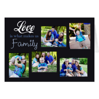 El amor es qué nos hace el collage de la familia tarjeta de felicitación