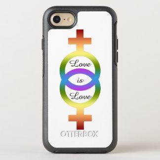 El amor es símbolos femeninos del arco iris del funda OtterBox symmetry para iPhone 7