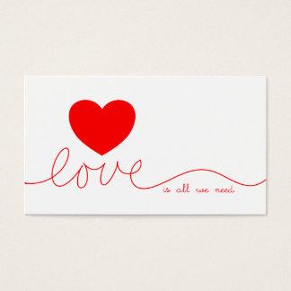 El amor es todo lo que necesitamos el corazón tarjeta de negocios