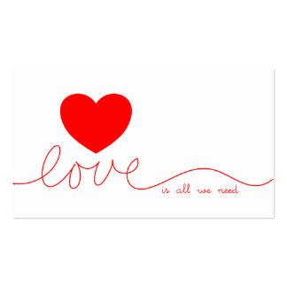 El amor es todo lo que necesitamos el corazón tarjetas de visita