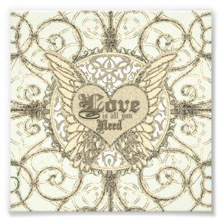 El amor es todo lo que usted necesita las alas y impresiones fotograficas