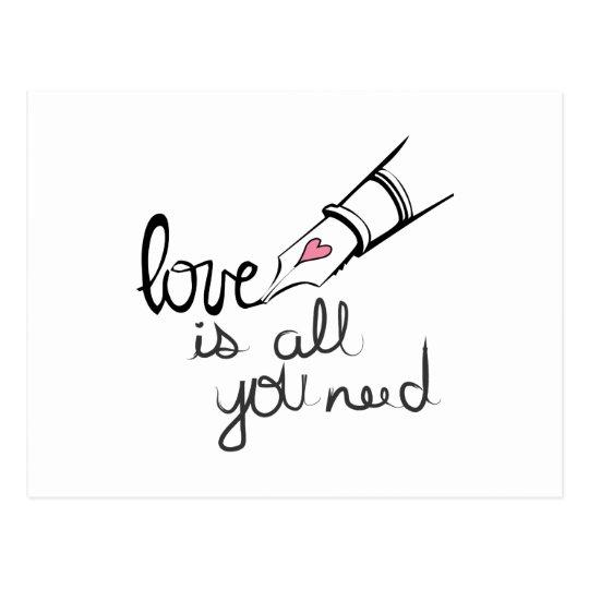 El amor es todo lo que usted necesita postal