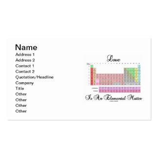 El amor es una cuestión elemental (la tabla periód tarjetas de negocios