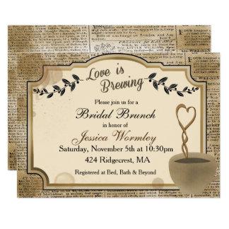 El amor está elaborando cerveza el café nupcial de invitación 12,7 x 17,8 cm