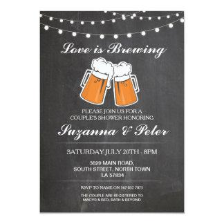 El amor está elaborando cerveza las cervezas que invitación 12,7 x 17,8 cm