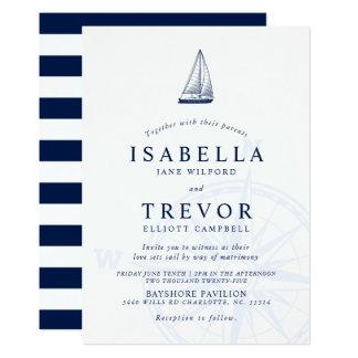 El amor fija la invitación náutica del boda de la
