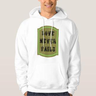 El amor nunca falla la sudadera con capucha básica