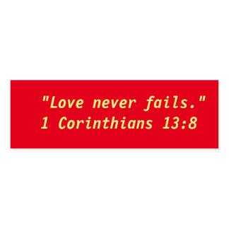 """El """"amor nunca falla"""" pequeñas notas tarjetas de visita mini"""