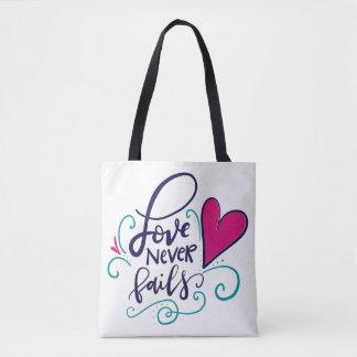 El amor nunca falla, tote bolsa de tela