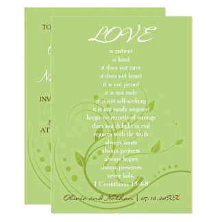 El amor nunca falla (verde de la primavera y invitación 12,7 x 17,8 cm