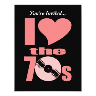 El amor retro de I los años 70 de los años 70 el | Invitación 10,8 X 13,9 Cm