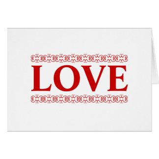 El amor rojo enrolló la tarjeta de nota EN BLANCO