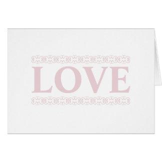 El amor rosado enrolló la tarjeta de nota EN