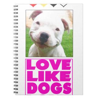 El amor tiene gusto de la postal del amor de los libro de apuntes con espiral