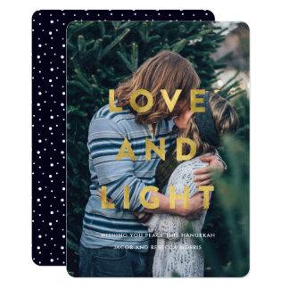 El amor y enciende la falsa foto de Jánuca de la Invitación 12,7 X 17,8 Cm