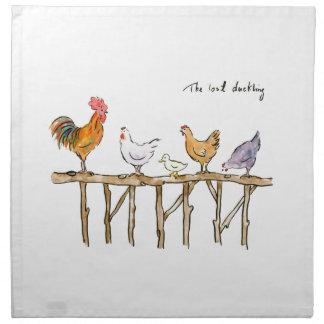 El anadón, los pollos y el anadón perdidos servilleta de tela
