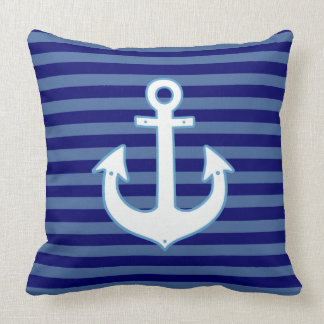 el ancla náutica azulada raya a la marina de cojín