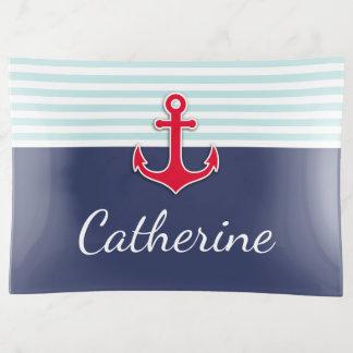 El ancla náutica del rojo de azules marinos crea