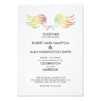 El ángel del arco iris del matrimonio homosexual invitación 12,7 x 17,8 cm