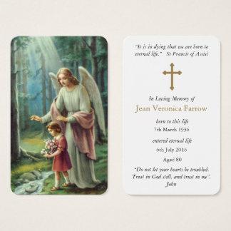 El ángel del rezo de dios fúnebre de la tarjeta el