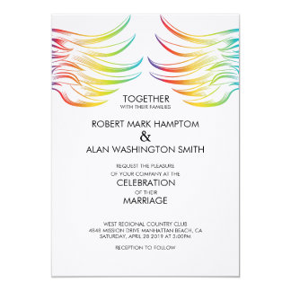 El ángel grande del arco iris del matrimonio invitación 12,7 x 17,8 cm