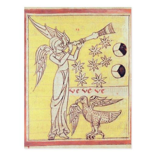 El ángel que sopla la trompeta tarjeta postal