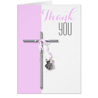 El ángel religioso de la confirmación le agradece tarjeta pequeña