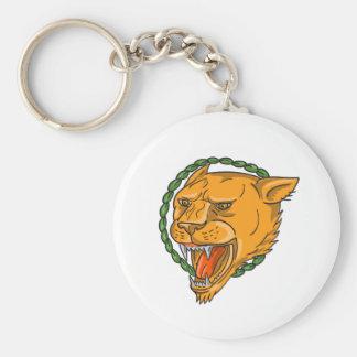 El anillo el gruñir de la leona sale del tatuaje llavero