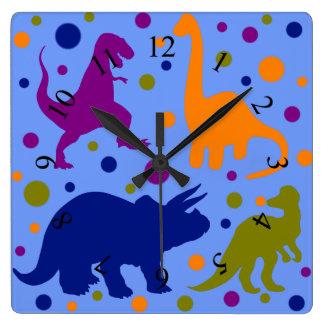 El animal lindo del lunar del dinosaurio embroma reloj cuadrado