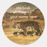 El animal salvaje del vintage, asiático del tigre etiquetas redondas