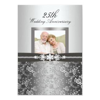 El aniversario de boda color de rosa de plata de invitación 12,7 x 17,8 cm