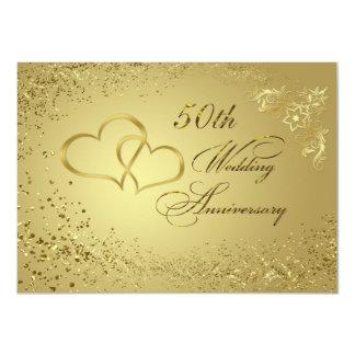 El aniversario de boda de los corazones 50 del invitación 11,4 x 15,8 cm