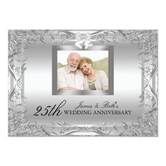 El aniversario de boda de plata del damasco 50.o invitación 12,7 x 17,8 cm