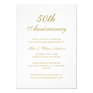 El aniversario de boda elegante del oro 50.o invitación 12,7 x 17,8 cm