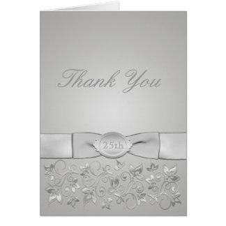 El aniversario de bodas de plata le agradece carda tarjeta pequeña