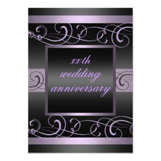 El aniversario púrpura/del negro elegante del invitación 11,4 x 15,8 cm