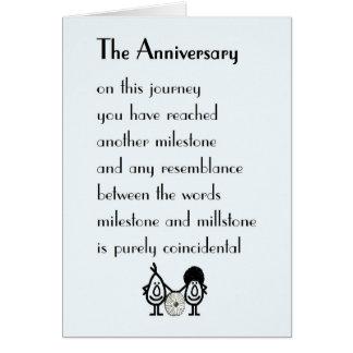 El aniversario - un poema divertido del tarjeta de felicitación