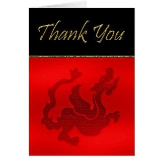 El año chino de dragón le agradece cardar con el tarjeta pequeña