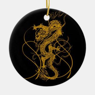 El año chino del dragón 2012 adorno navideño redondo de cerámica
