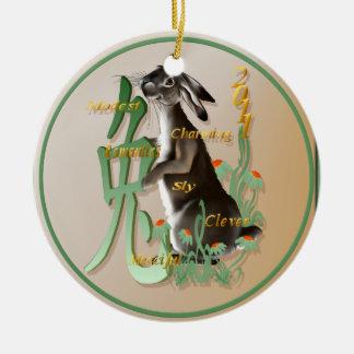 El año de los Conejo-Ornamentos Adorno Navideño Redondo De Cerámica