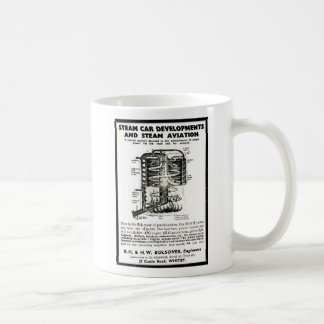 El anuncio que promueve los coches del vapor y la taza básica blanca
